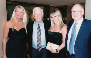 Dr Ken MacTaggart with Gene Cernan & two Bond Girls